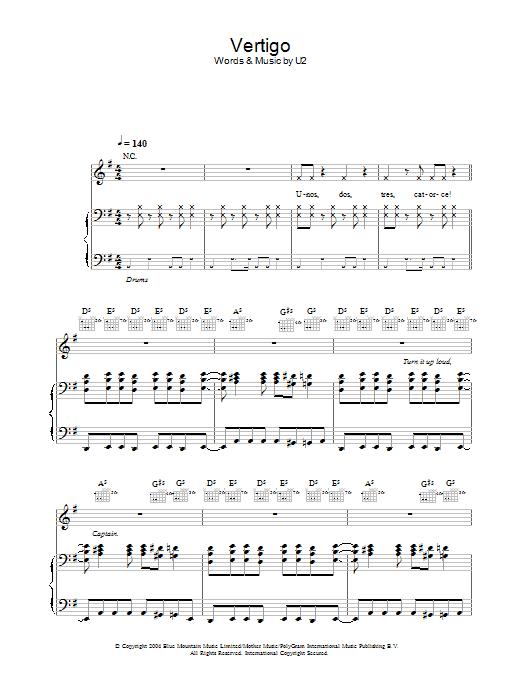 U2 Vertigo sheet music preview music notes and score for Piano, Vocal & Guitar (Right-Hand Melody) including 8 page(s)