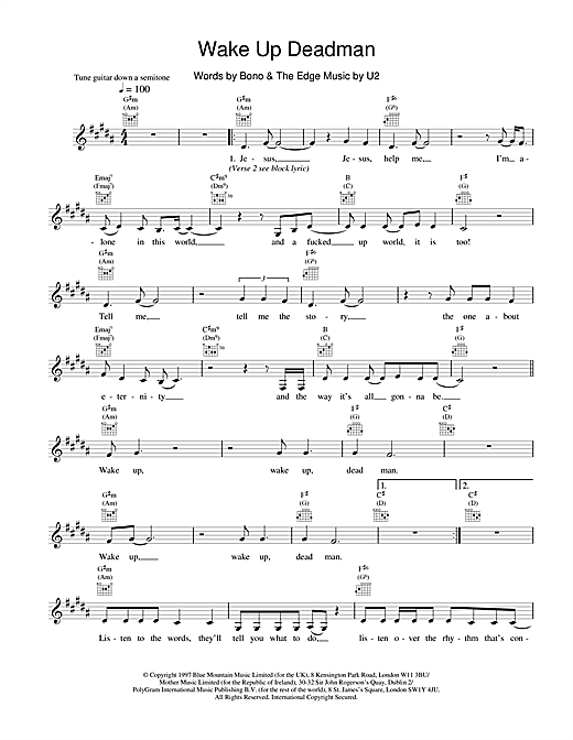 U2 Wake Up Dead Man sheet music notes and chords