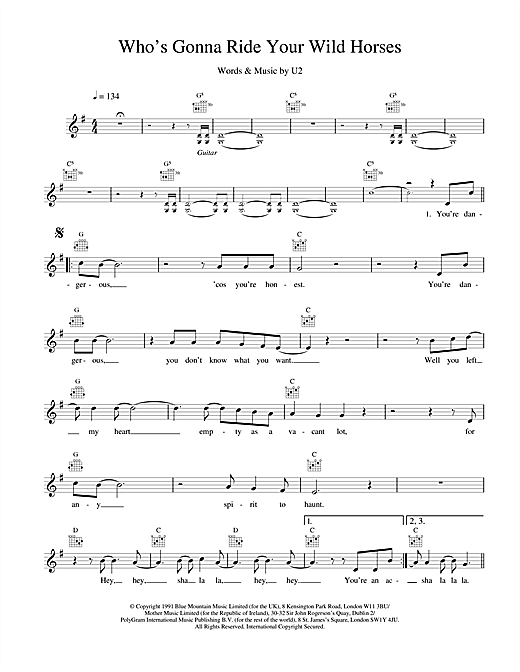 U2 Who's Gonna Ride Your Wild Horses sheet music notes and chords