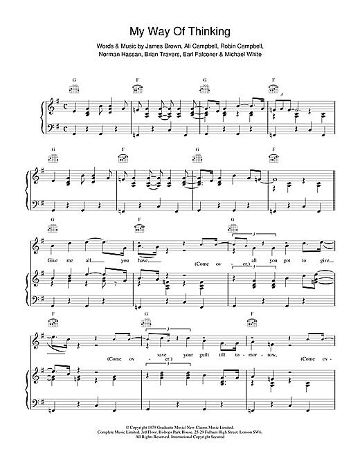 UB40 My Way Of Thinking sheet music notes and chords