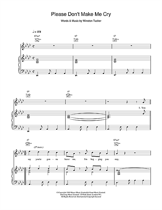 UB40 Please Don't Make Me Cry sheet music notes and chords