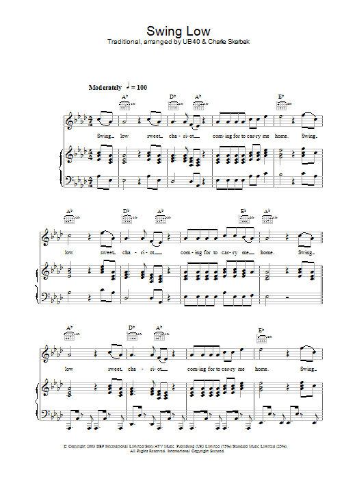 UB40 Swing Low sheet music preview music notes and score for Piano, Vocal & Guitar (Right-Hand Melody) including 5 page(s)