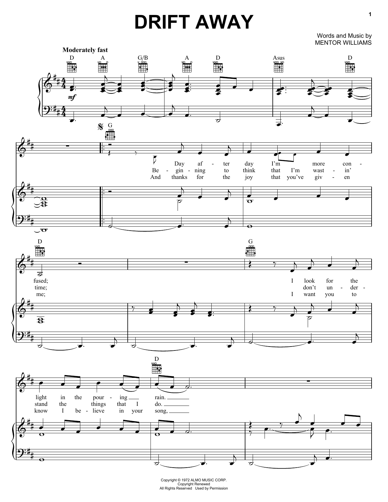 Uncle Kracker Drift Away sheet music preview music notes and score for Easy Guitar Tab including 3 page(s)