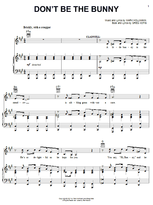 Urinetown (Musical) Don't Be The Bunny sheet music preview music notes and score for Piano, Vocal & Guitar (Right-Hand Melody) including 7 page(s)