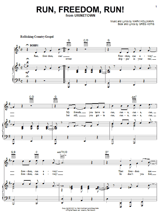 Urinetown (Musical) Run, Freedom, Run! sheet music preview music notes and score for Piano, Vocal & Guitar (Right-Hand Melody) including 9 page(s)