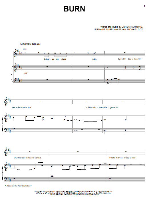 Usher Burn sheet music preview music notes and score for Piano, Vocal & Guitar (Right-Hand Melody) including 10 page(s)