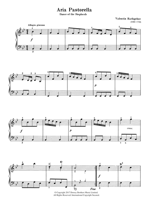 Valentin Rathgeber Aria Pastorella (Dance of the Shepherds) sheet music notes and chords