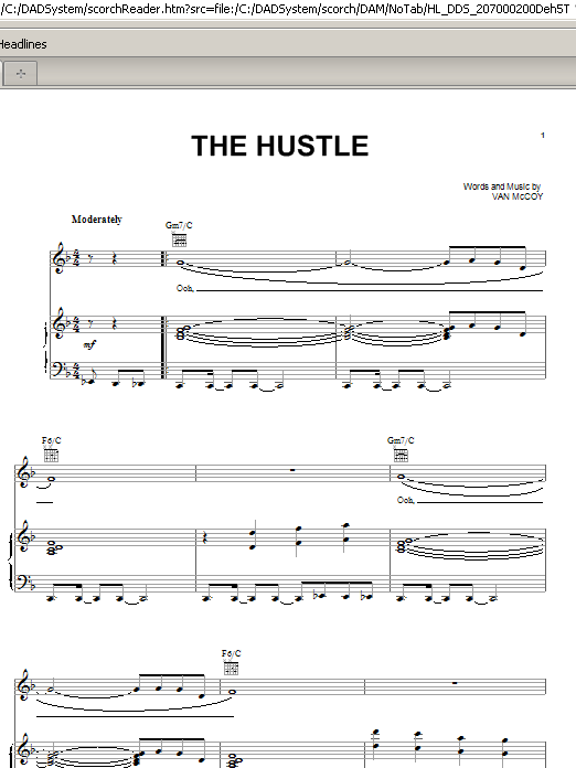 Van McCoy & The Soul City Symphony The Hustle sheet music preview music notes and score for Piano, Vocal & Guitar (Right-Hand Melody) including 4 page(s)