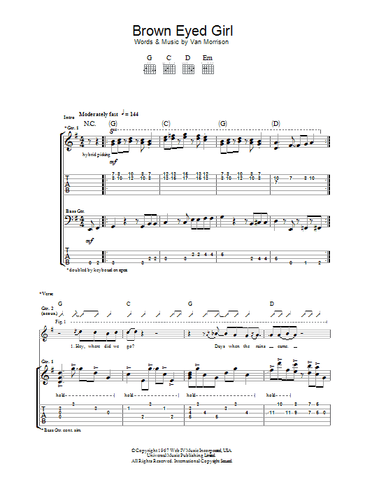 Van Morrison Brown Eyed Girl sheet music preview music notes and score for Ukulele including 3 page(s)