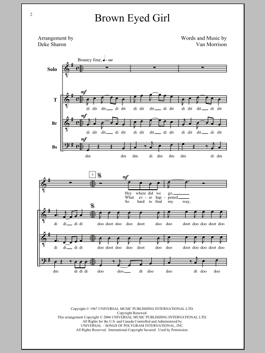 Deke Sharon Brown Eyed Girl sheet music preview music notes and score for SATB including 6 page(s)