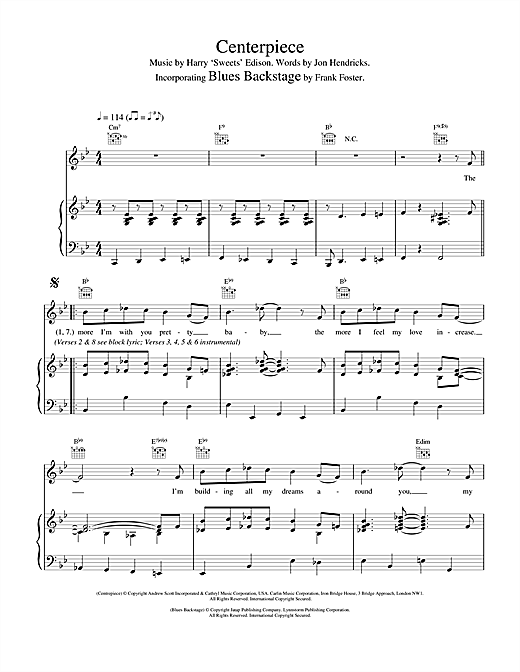 Van Morrison Centerpiece/Blues Backstage sheet music notes and chords