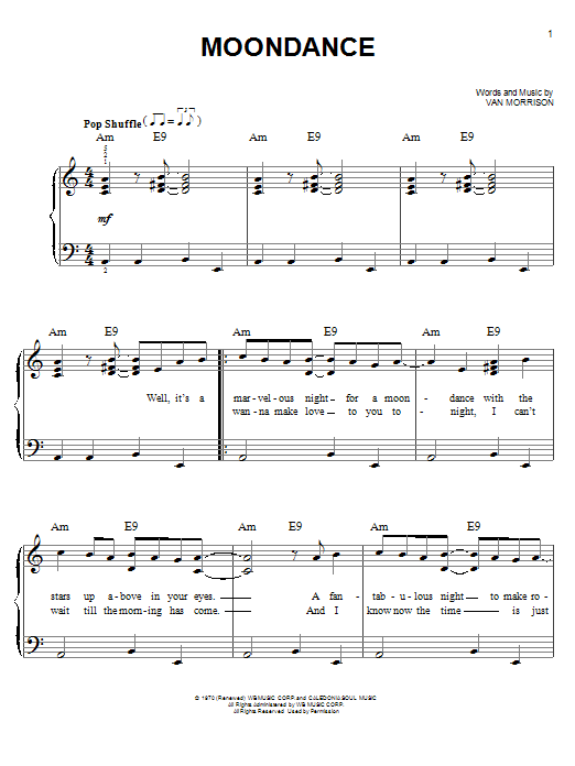 Download Van Morrison 'Moondance' Digital Sheet Music Notes & Chords and start playing in minutes
