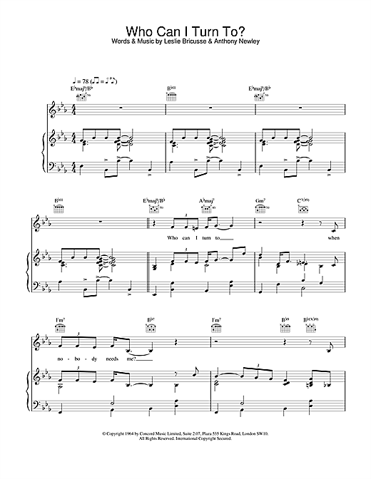Van Morrison Who Can I Turn To? sheet music notes and chords