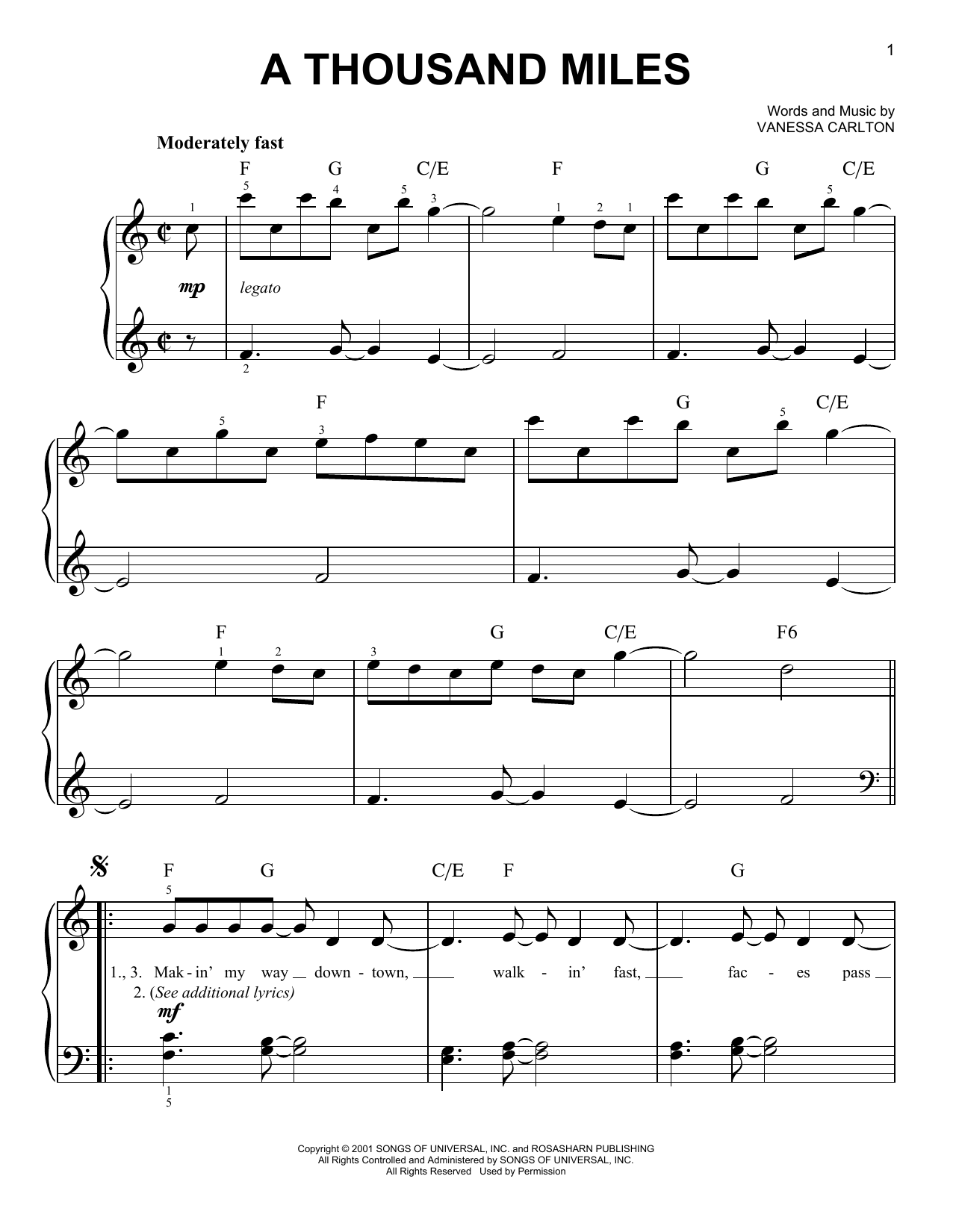 Vanessa Carlton A Thousand Miles sheet music preview music notes and score for Piano, Vocal & Guitar (Right-Hand Melody) including 8 page(s)