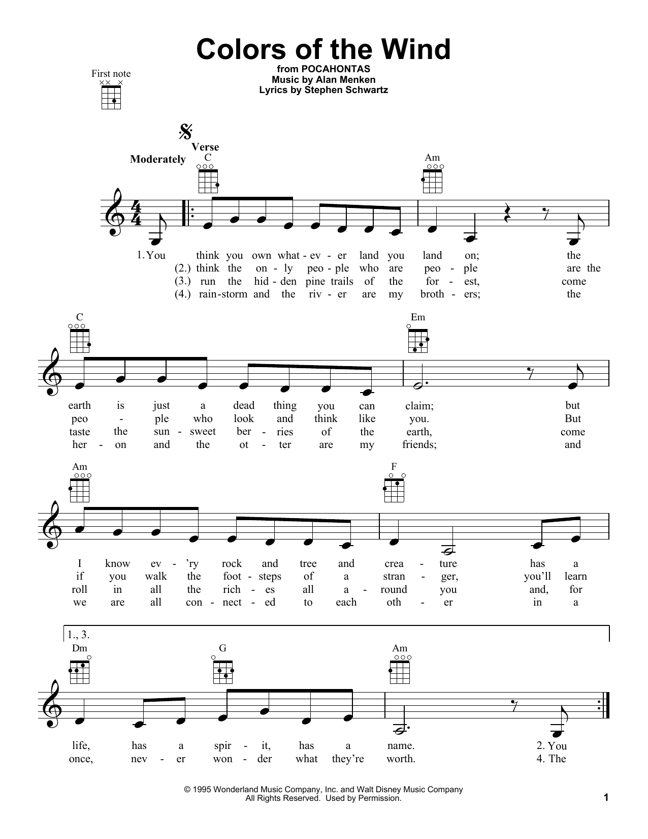 Vanessa Williams Colors Of The Wind sheet music notes and chords
