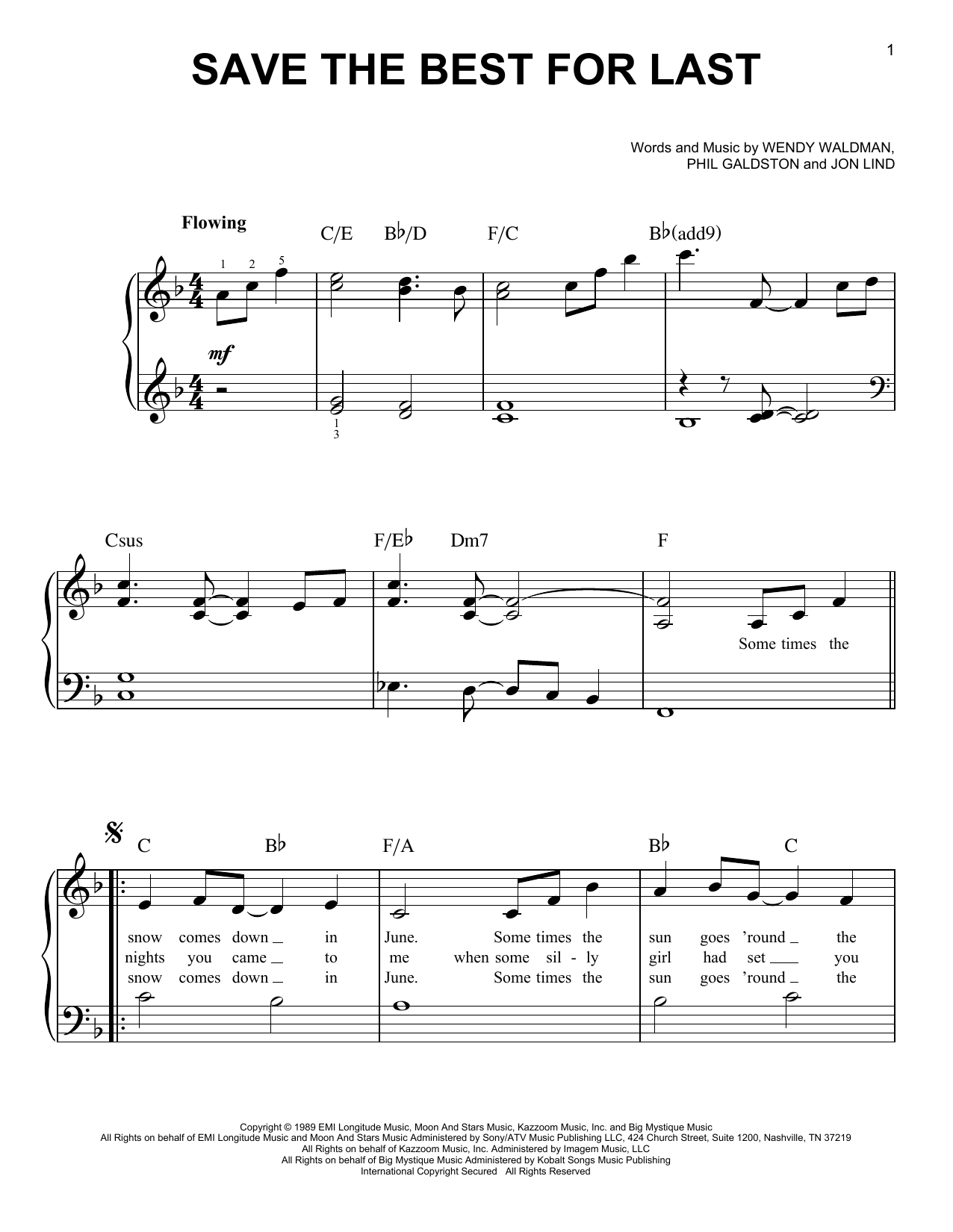 Vanessa Williams Save The Best For Last sheet music notes and chords