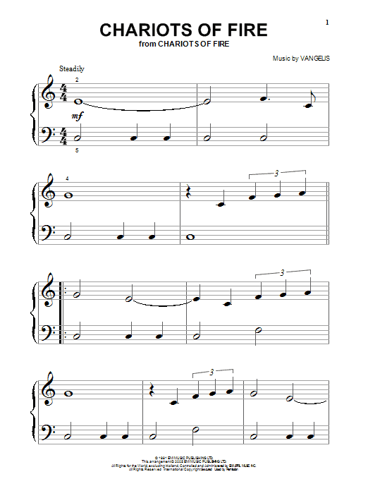 Vangelis Chariots Of Fire sheet music preview music notes and score for Piano including 3 page(s)
