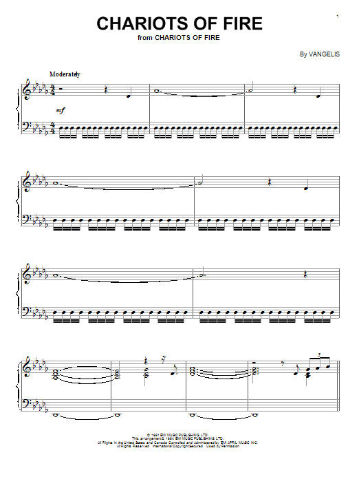 Vangelis Chariots Of Fire sheet music preview music notes and score for Piano Solo including 3 page(s)