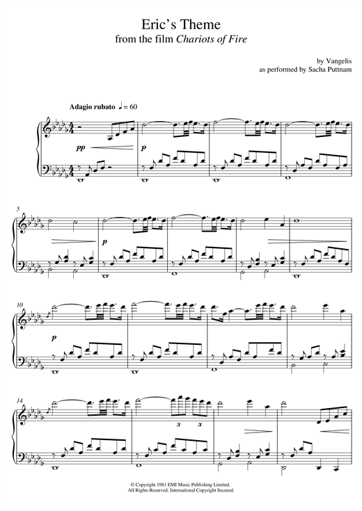 Download Vangelis 'Eric's Theme (from Chariots Of Fire) (as performed by Sacha Puttnam)' Digital Sheet Music Notes & Chords and start playing in minutes