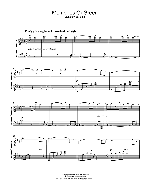 Vangelis Memories Of Green (from Blade Runner) sheet music notes and chords