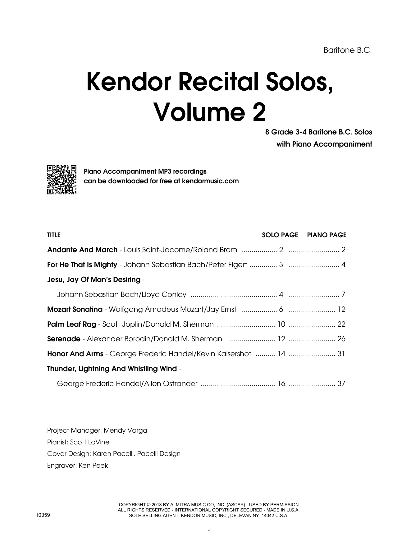 Various Kendor Recital Solos, Volume 2 - Baritone B.C. sheet music preview music notes and score for Brass Solo including 17 page(s)
