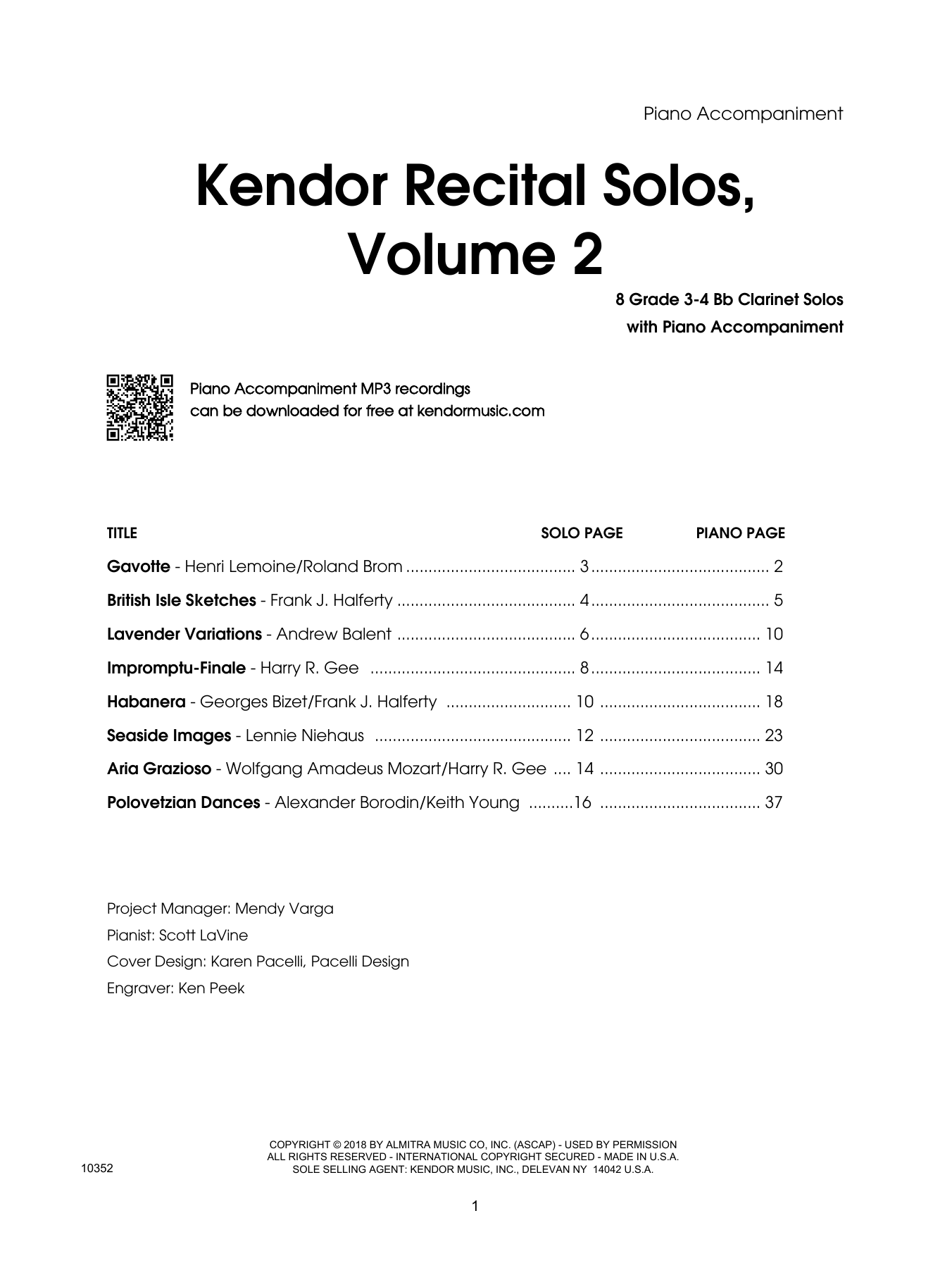 Various Kendor Recital Solos, Volume 2 - Bb Clarinet - Piano Accompaniment sheet music preview music notes and score for Woodwind Solo including 44 page(s)