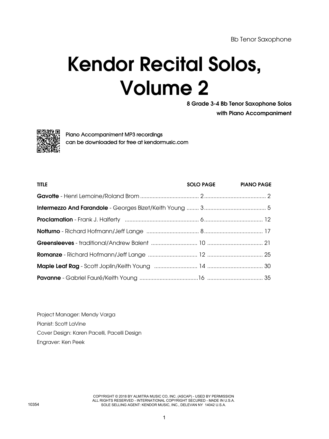 Various Kendor Recital Solos, Volume 2 - Bb Tenor Saxophone sheet music preview music notes and score for Woodwind Solo including 17 page(s)