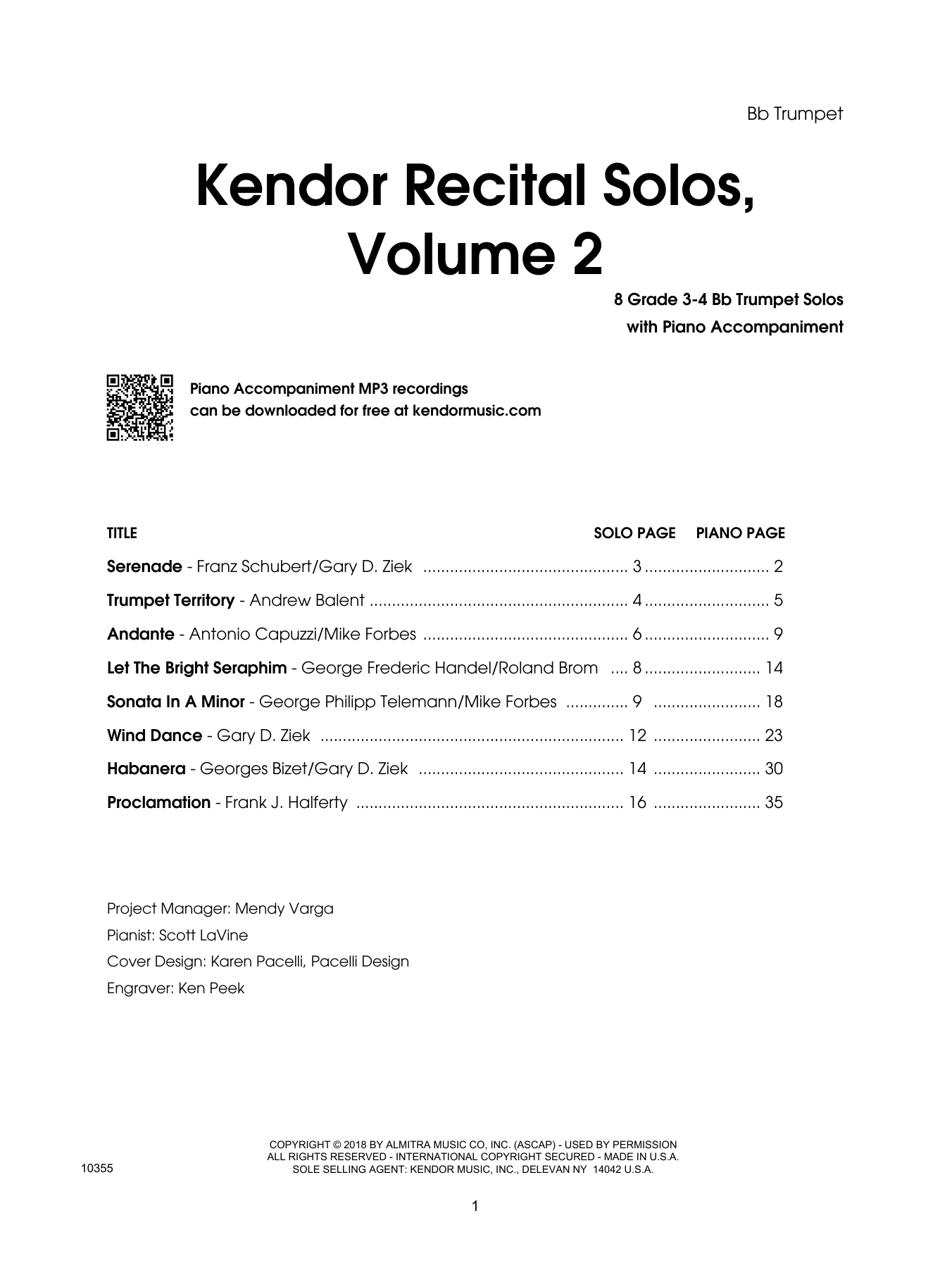 Various Kendor Recital Solos, Volume 2 - Bb Trumpet - Bb Trumpet sheet music preview music notes and score for Brass Solo including 16 page(s)