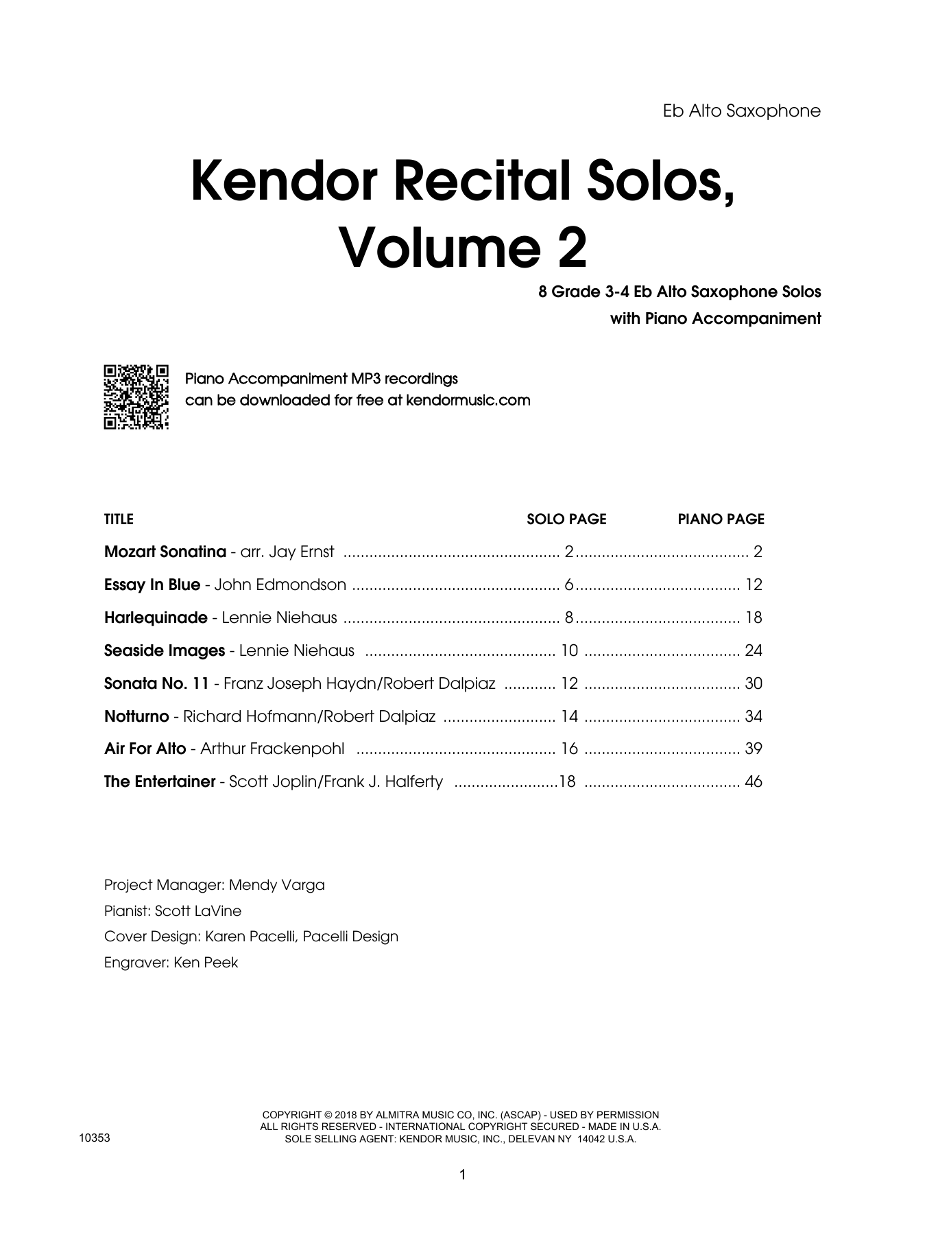 Various Kendor Recital Solos, Volume 2 - Eb Alto Saxophone sheet music preview music notes and score for Woodwind Solo including 19 page(s)