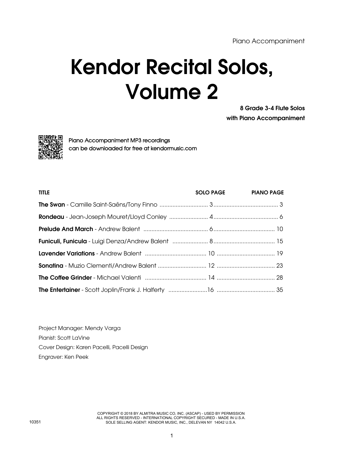 Various Kendor Recital Solos, Volume 2 - Flute - Piano Accompaniment sheet music preview music notes and score for Woodwind Solo including 39 page(s)