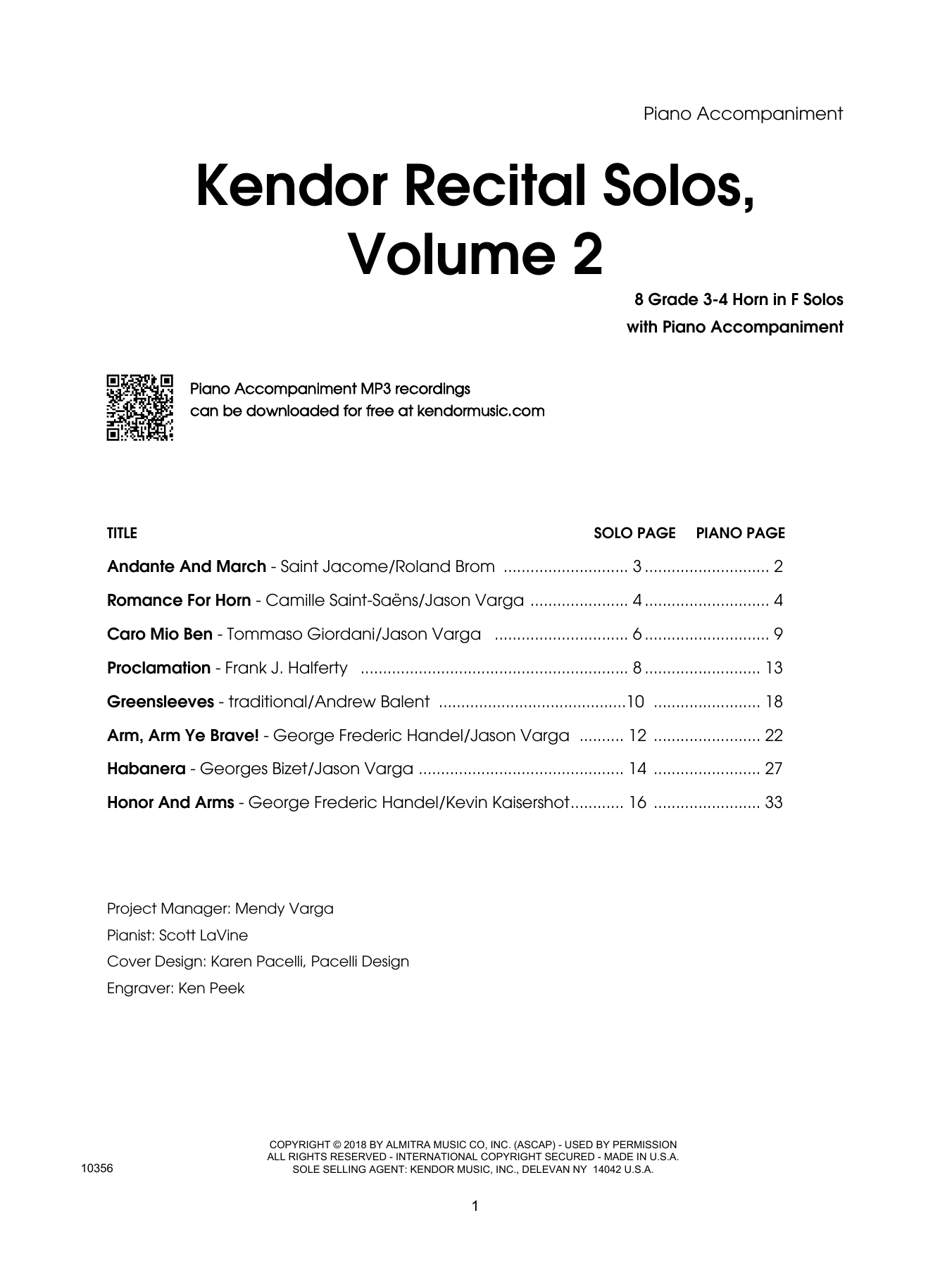Various Kendor Recital Solos, Volume 2 - Piano Accompaniment sheet music preview music notes and score for Woodwind Solo including 51 page(s)