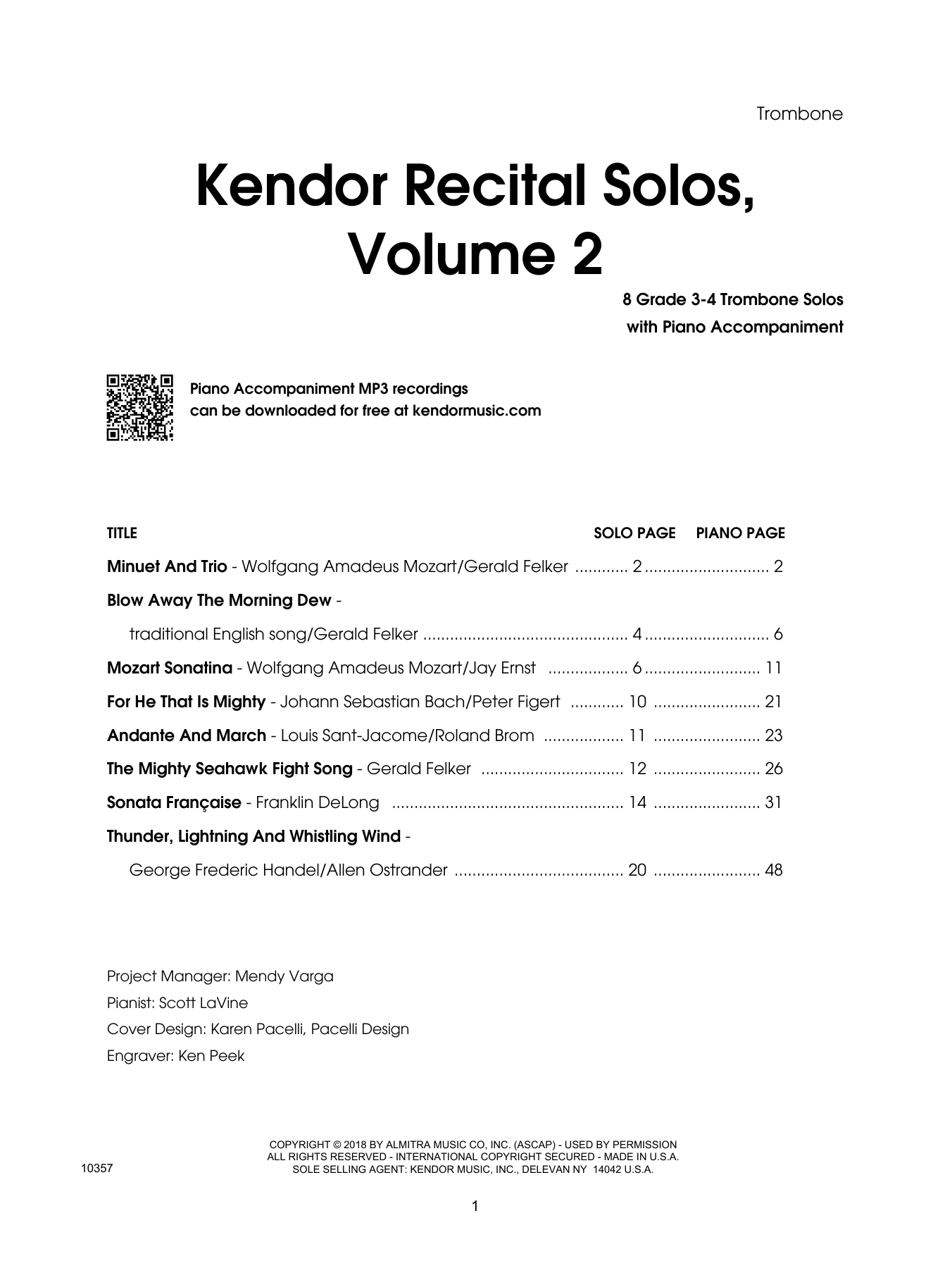 Various Kendor Recital Solos, Volume 2 - Trombone - Trombone sheet music preview music notes and score for Brass Solo including 21 page(s)