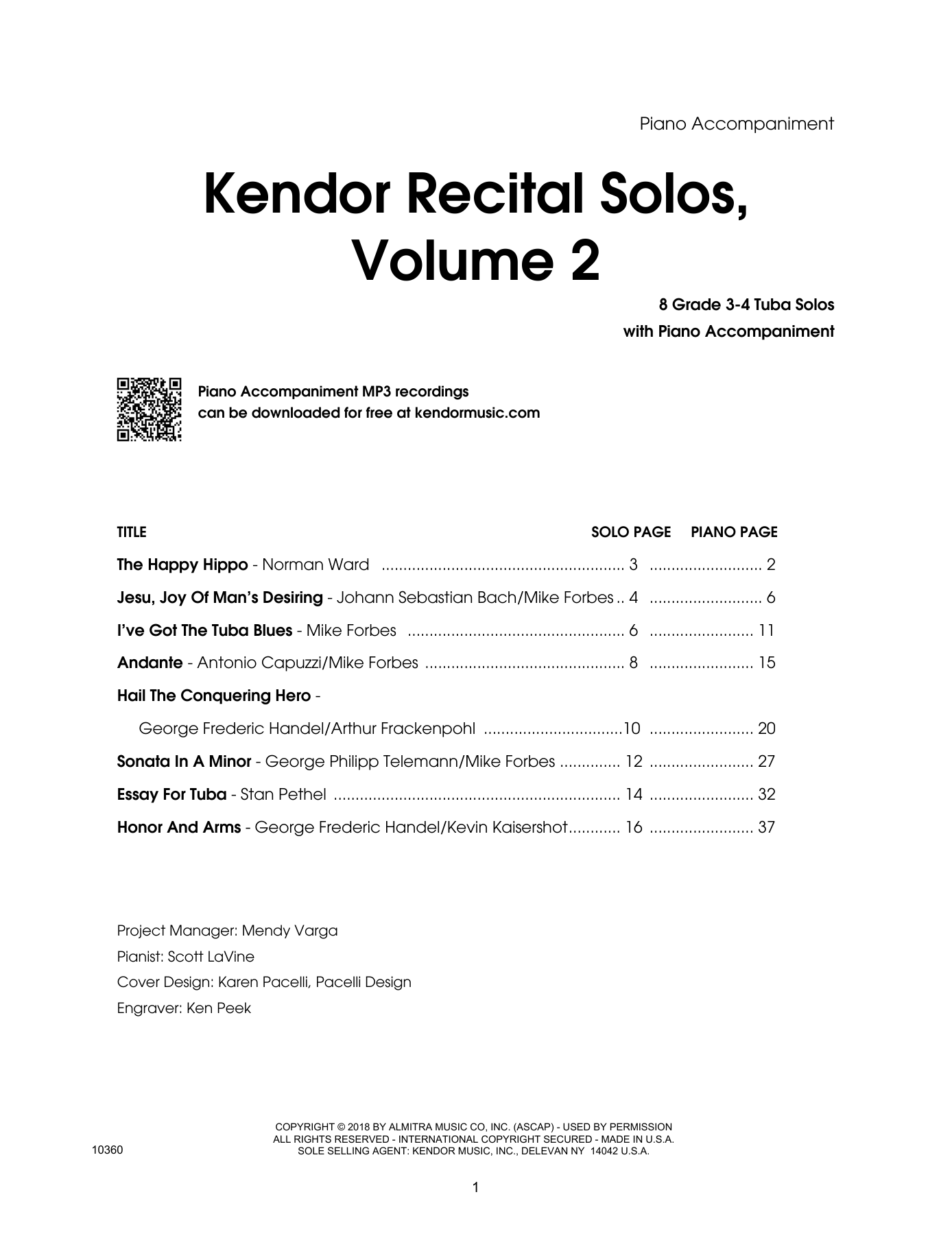 Various Kendor Recital Solos, Volume 2 - Tuba - Piano Accompaniment sheet music preview music notes and score for Brass Solo including 42 page(s)
