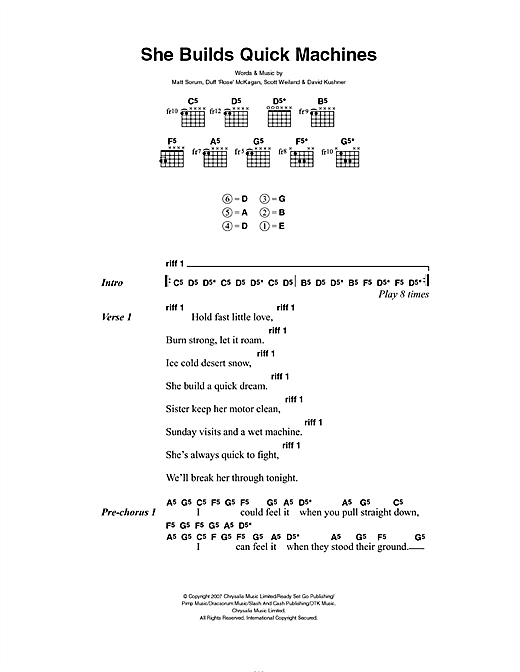 Velvet Revolver She Builds Quick Machines sheet music preview music notes and score for Guitar Tab including 9 page(s)