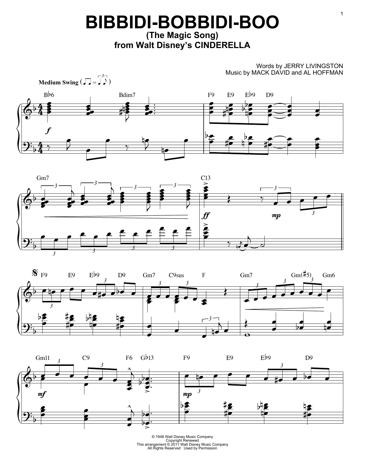 Download Verna Felton 'Bibbidi-Bobbidi-Boo (The Magic Song)' Digital Sheet Music Notes & Chords and start playing in minutes