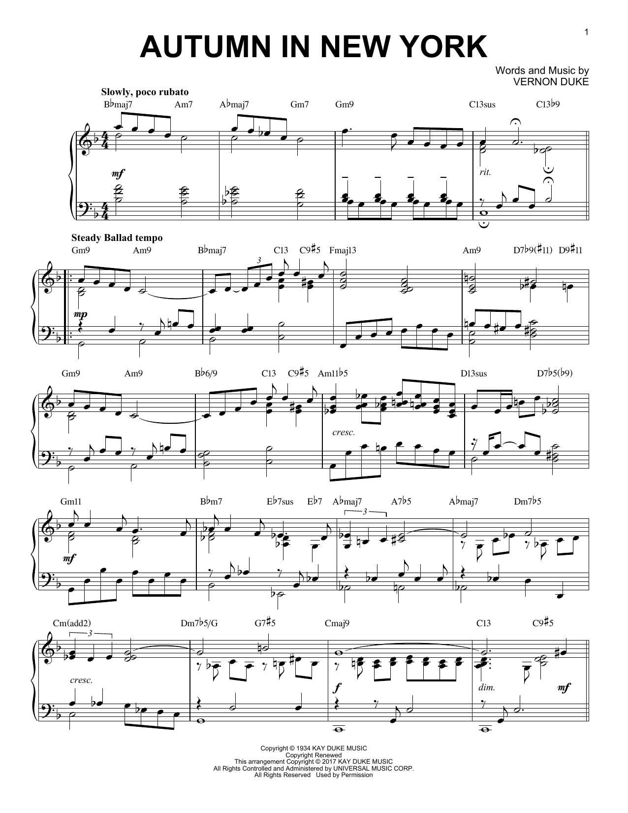 Download Vernon Duke 'Autumn In New York' Digital Sheet Music Notes & Chords and start playing in minutes