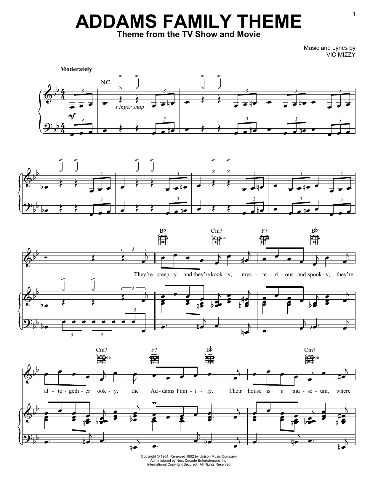 Vic Mizzy The Addams Family Theme sheet music notes and chords