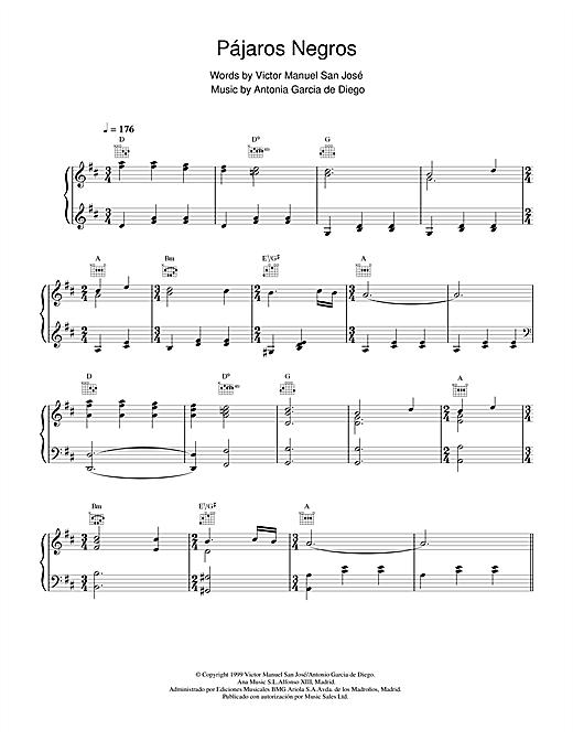 Victor Manuel San José Pájaros Negros sheet music notes and chords