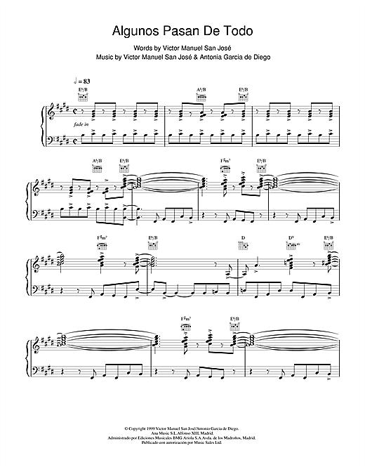 Victor Manuel San José Algunos Pasan De Todo sheet music notes and chords