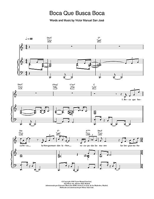 Victor Manuel San José Boca Que Busca Boca sheet music notes and chords