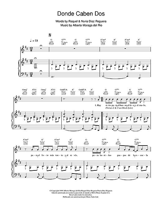 Victor Manuel San José Donde Caben Dos sheet music notes and chords