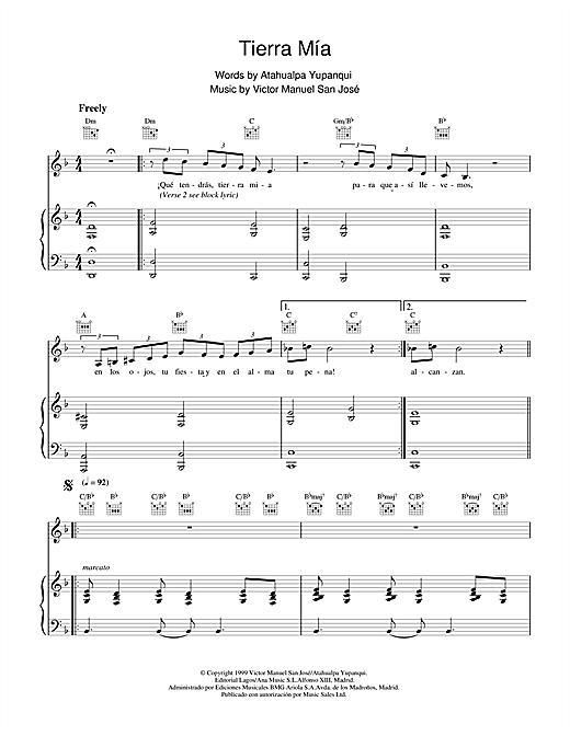 Victor Manuel San José Tierra Mía sheet music notes and chords