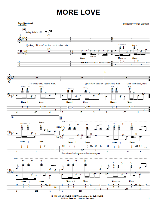Victor Wooten More Love sheet music notes and chords