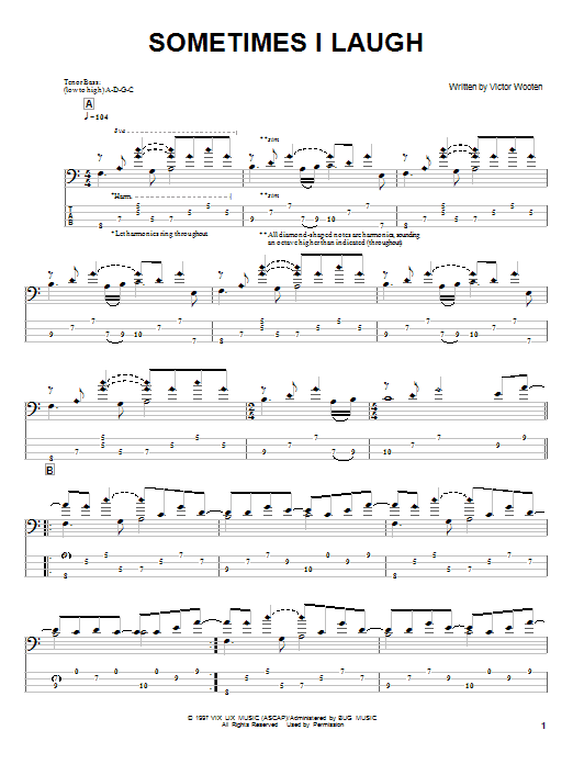 Victor Wooten Sometimes I Laugh sheet music notes and chords