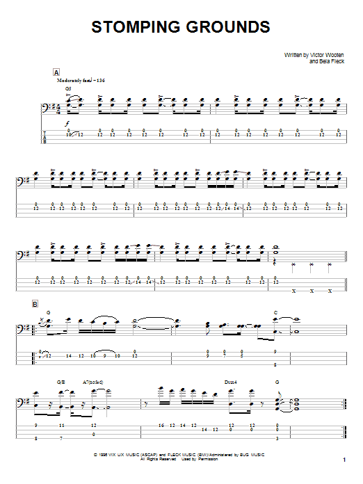 Victor Wooten Stomping Grounds sheet music notes and chords