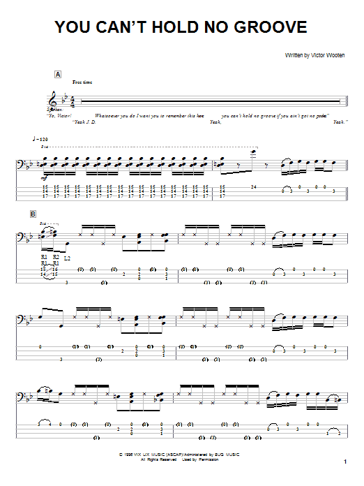 Victor Wooten You Can't Hold No Groove sheet music notes and chords