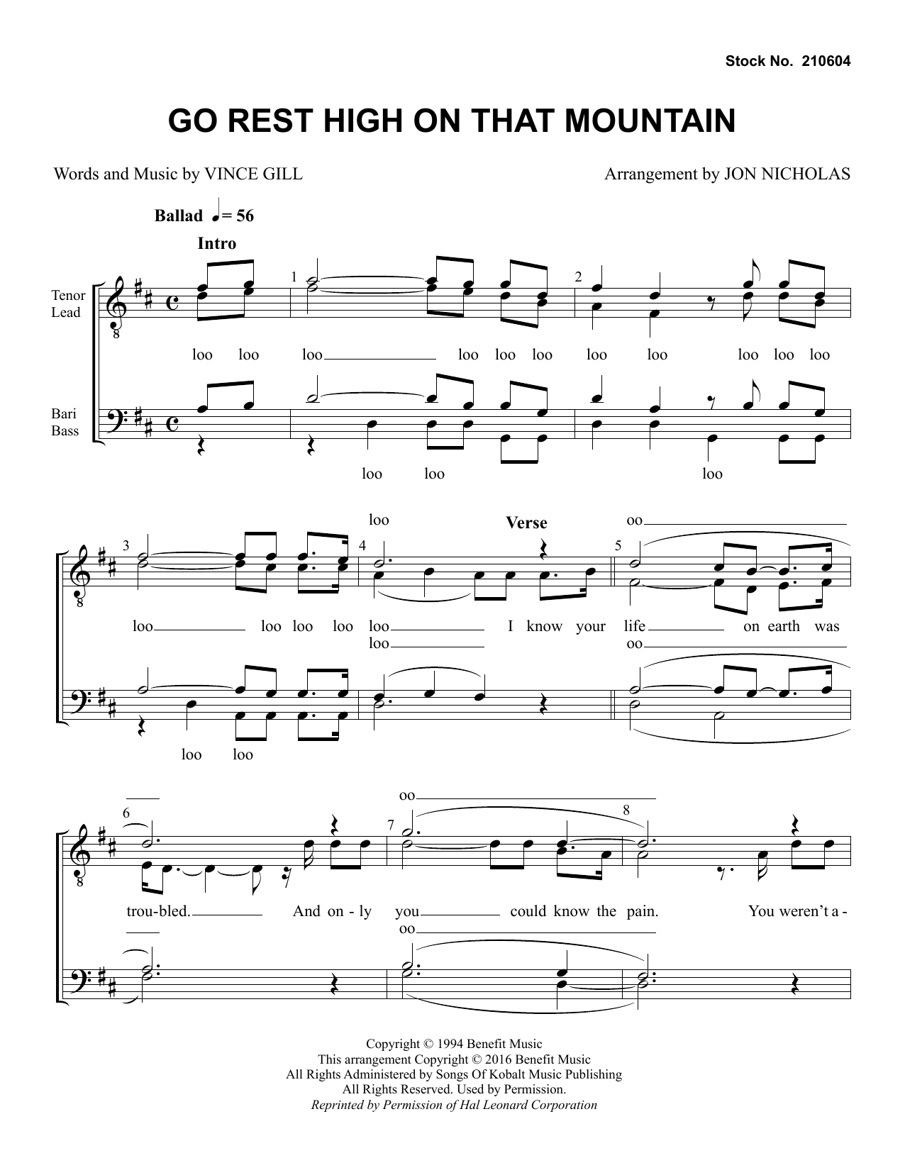 Vince Gill Go Rest High on That Mountain (arr. Jon Nicholas) sheet music preview music notes and score for TTBB Choir including 6 page(s)