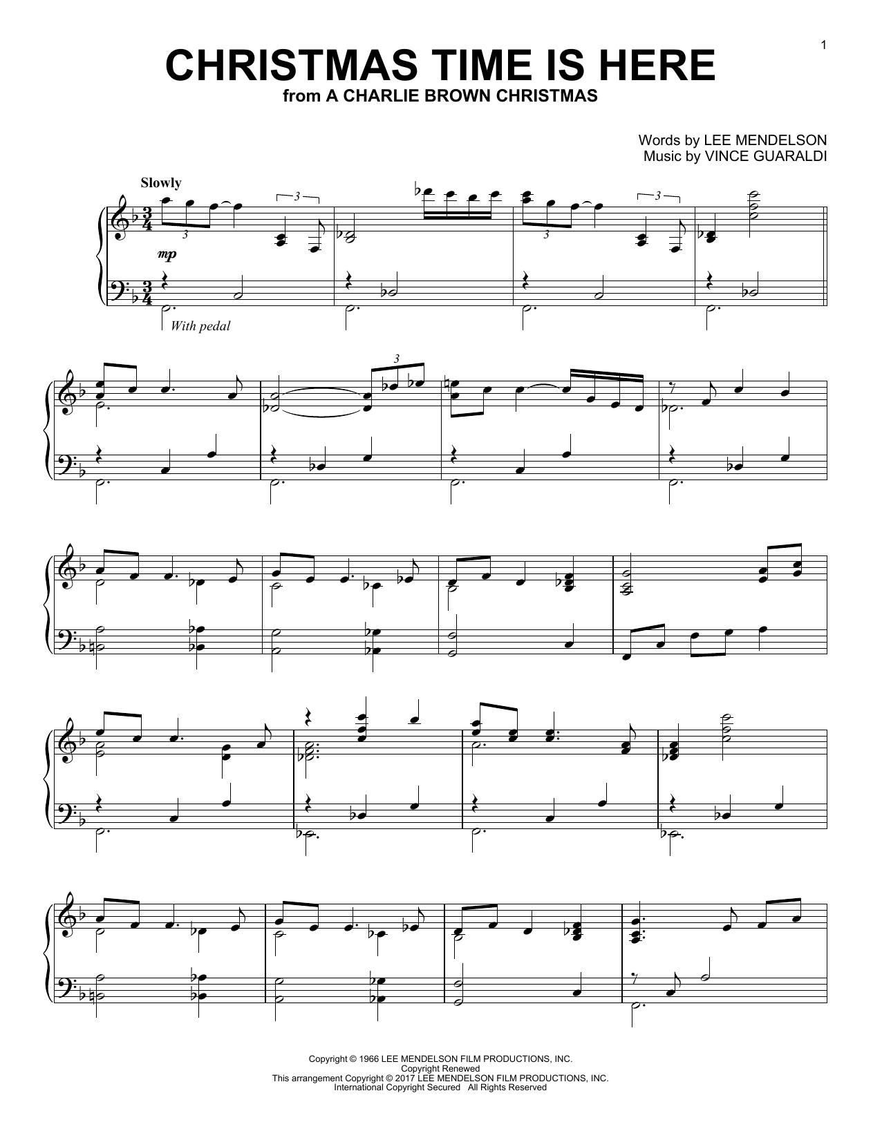 Download Vince Guaraldi 'Christmas Time Is Here' Digital Sheet Music Notes & Chords and start playing in minutes