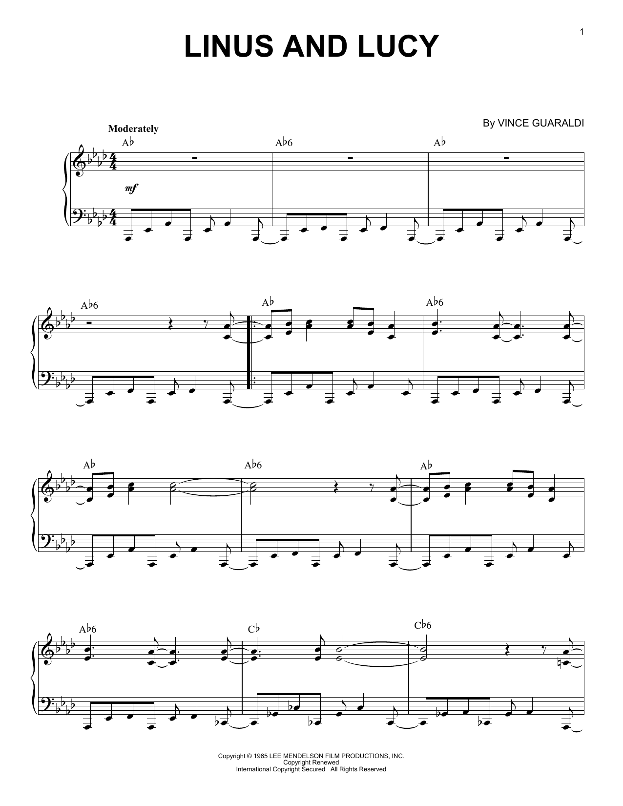 Download Vince Guaraldi 'Linus And Lucy' Digital Sheet Music Notes & Chords and start playing in minutes