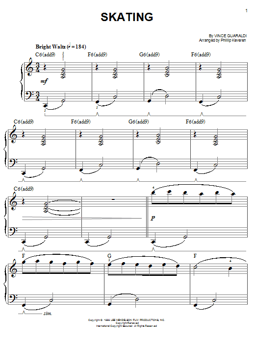 Vince Guaraldi Skating (from A Charlie Brown Christmas) sheet music preview music notes and score for Piano (Big Notes) including 5 page(s)